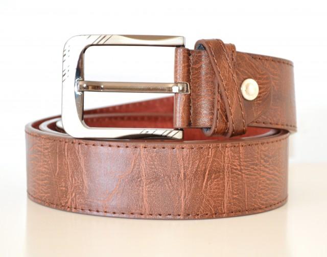 Servizio Spedizione Pelle : Cintura uomo pelle marrone venature elegante cinta fibbia