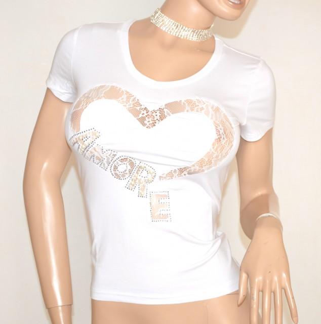 Shirt Bianca T Maglia Manica Donna Maglietta Cotone Corta yI76gbYfv