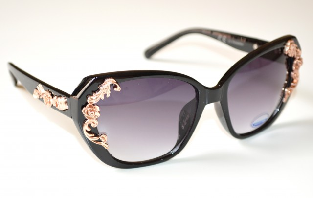 Occhiali da sole donna neri fiori oro lenti eleganti for Occhiali neri da sole