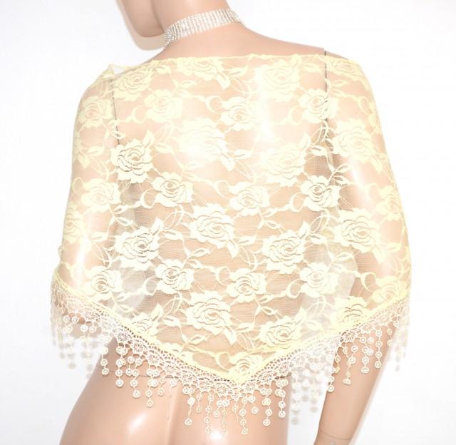 in vendita 7b3d3 8eadf STOLA GIALLA donna foulard da cerimonia scialle coprispalle elegante pizzo  ricamato velato E140