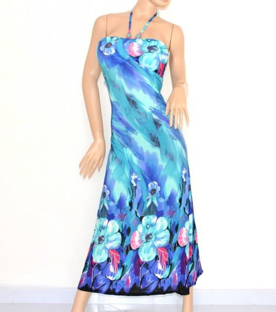 Vestiti Eleganti Azzurri.Vestito Donna Abito Lungo Fantasia Floreale Azzurro Blu Bandeau Da