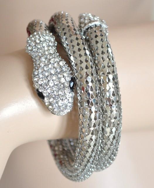 Bracciale donna a forma di serpente col argento con strass for Case a forma di u