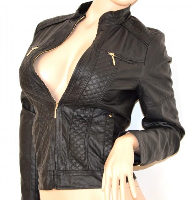 Preferenza GIUBBINO PELLE NERO donna GIACCA giacchino zip oro sexy avvitato  IL28