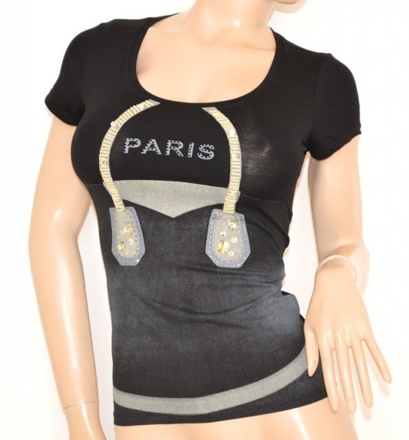 maglia NERA shirt MAGLIETTA sottogiacca donna t sexy cotone STRASS R4wOZxwq