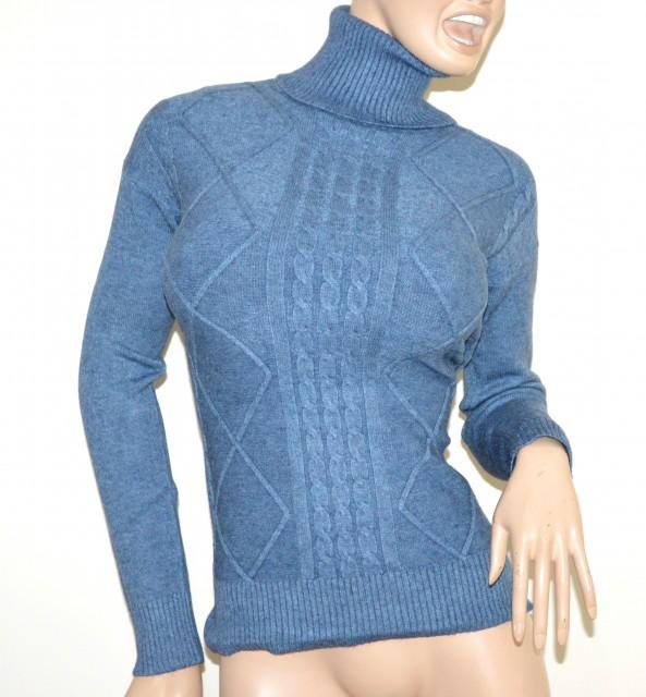 size 40 1d34f 9b10e MAGLIONE AZZURRO collo alto donna maglietta manica lunga dolcevita pullover  G1