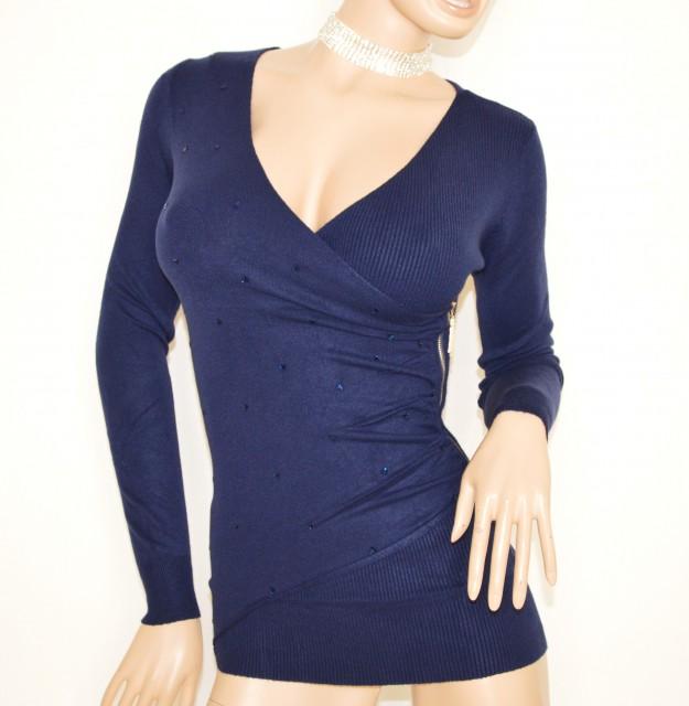 nuovo di zecca 67924 3614f MAGLIONE MAGLIETTA BLU donna maniche lunghe maglioncino ...