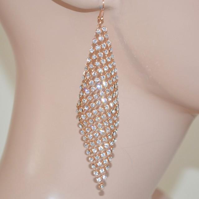 aspetto elegante sconto in vendita seleziona per ultimo ORECCHINI ORO donna strass cristalli luccicanti eleganti cerimonia sposa  earring 1015