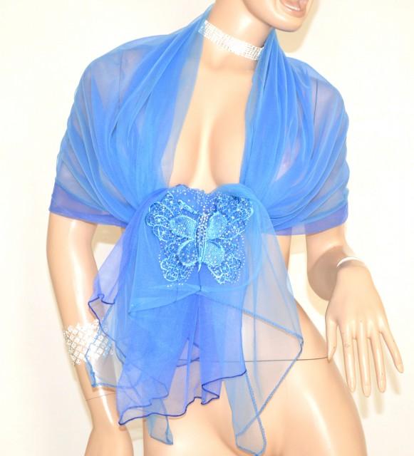 promo code e8296 a4f53 STOLA BLU AZZURRO donna elegante foulard velato sciarpa coprispalle strass  cerimonia 5X