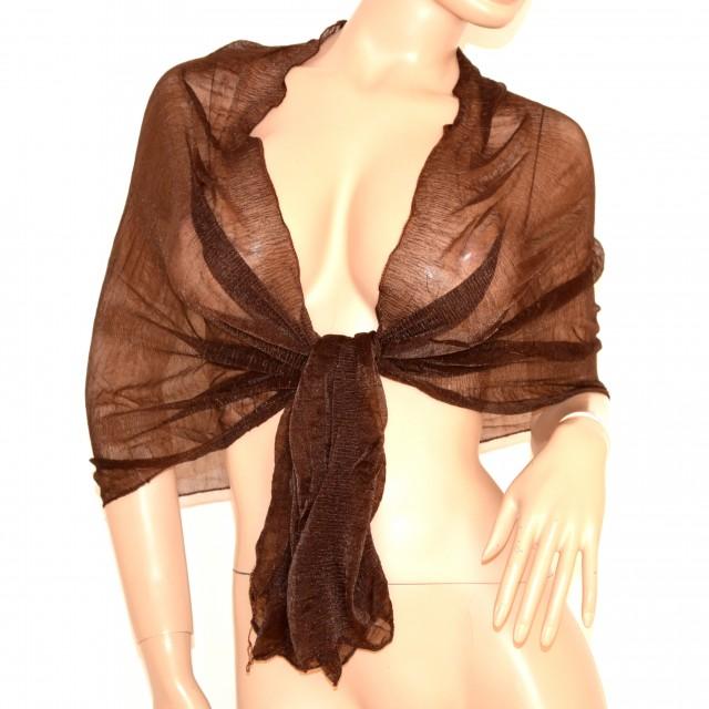 STOLA foulard donna coprispalle da sera tinta unita marrone SCIARPA  elegante da cerimonia 155E 4589608ea3db