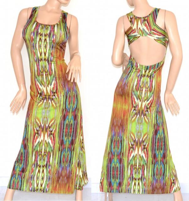 53b5a0bcbe86 VESTITO LUNGO ELEGANTE donna maxi abito verde multicolore fantasia  scollatura incrocio schiena nuda cerimonia da sera 105A