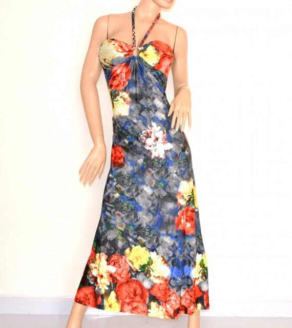 Vestiti Cerimonia Floreali.Abito Lungo Donna Vestito Floreale A Fiori Maxi Dress Copricostume