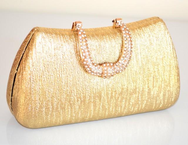 53165d1e18 POCHETTE donna BORSELLO ORO ELEGANTE da cerimonia borsa DORATA strass borsetta  da sera clutch bag 760E