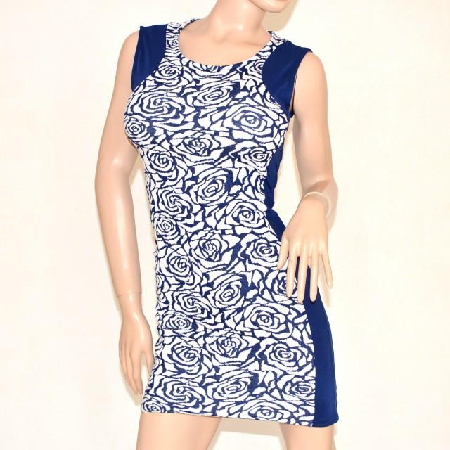 Vestiti Eleganti A Tubino.Vestito Abito Donna Miniabito Blu Mini Dress Floreale Tubino Da