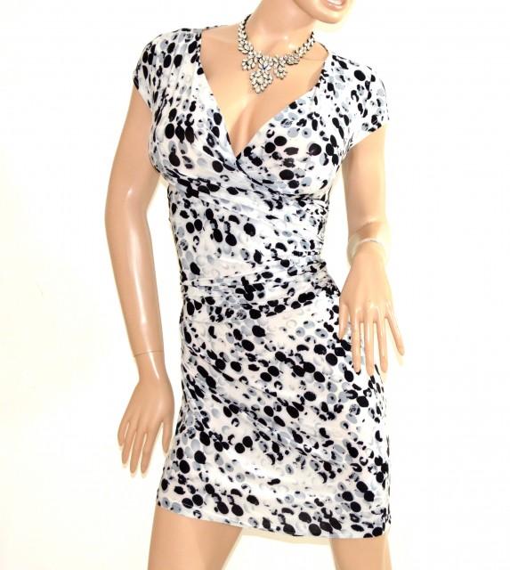 newest ee360 4e53a ABITO donna BIANCO NERO GRIGIO vestito manica corta a pois sexy scollo V  dress E138