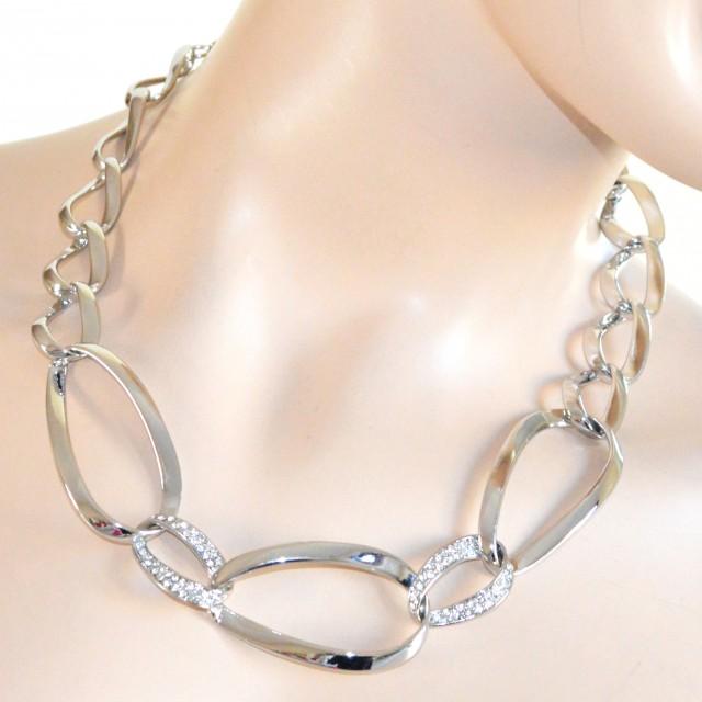 COLLANA ARGENTO girocollo da cerimonia donna elegante STRASS CRISTALLI  anelli collier A68 images 9ae37928ae3
