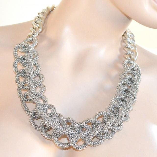 girocollo donna argento  COLLANA girocollo donna ARGENTO CATENA anelli maglia intrecciata A72