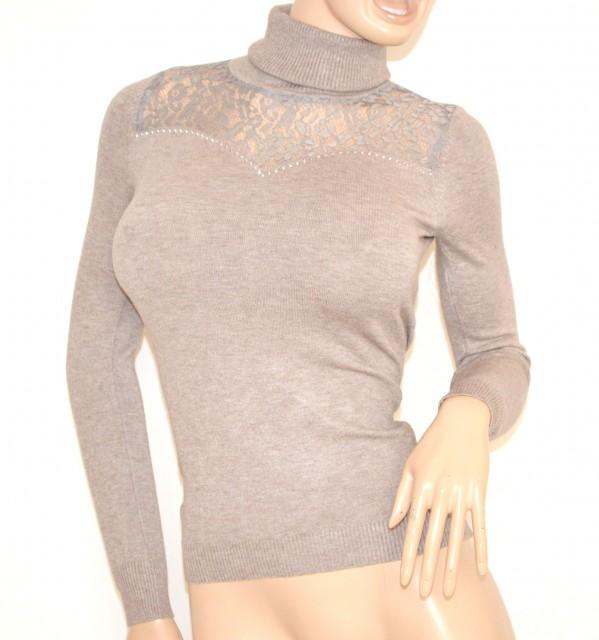 scarpe da ginnastica a buon mercato de69c 4f7d4 MAGLIETTA donna BEIGE TORTORA collo alto maglione manica lunga elegante  sottogiacca ricamata pullover pizzo strass Z55