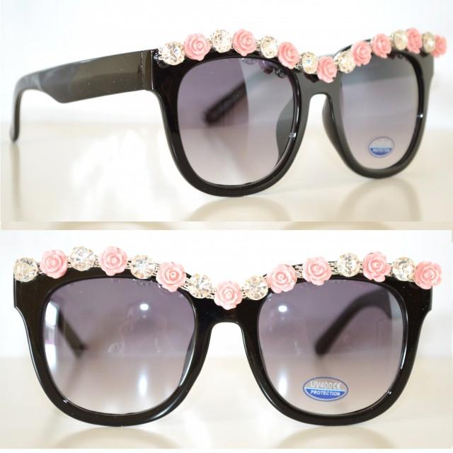 occhiali da sole neri eleganti cristalli strass rosa