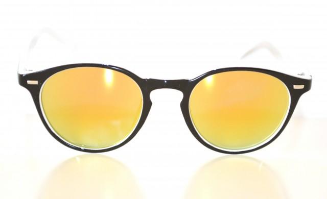 Occhiali da sole neri uomo lenti tonde gialle a specchio for Occhiali neri da sole
