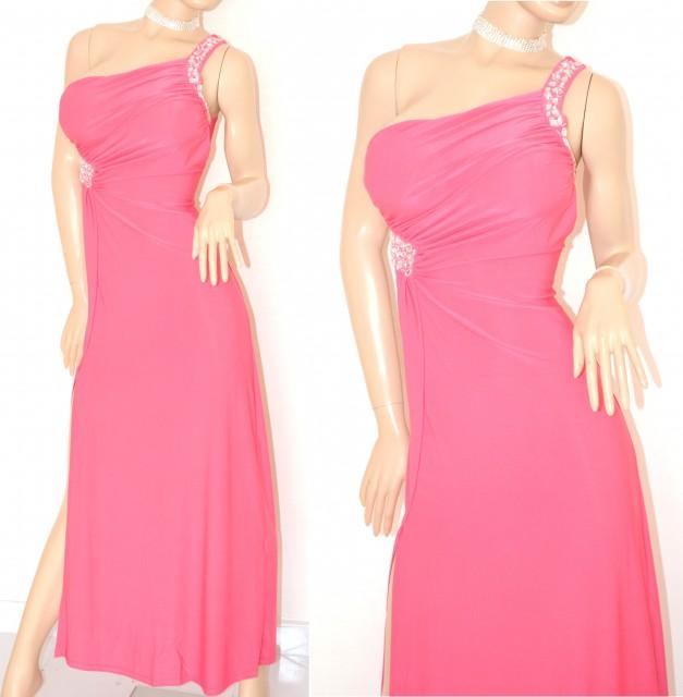 timeless design b4e3d bd7e0 ABITO LUNGO donna ROSA FUCSIA vestito ELEGANTE da sera MONOSPALLA sexy  cristalli da cerimonia festa 60X