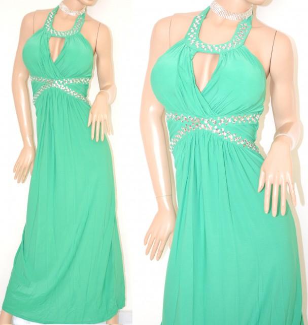 hot sale online ece08 1de86 ABITO LUNGO vestito donna VERDE cristalli strass elegante cerimonia abito  da sera party E15