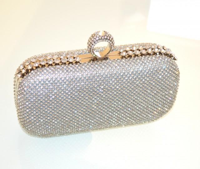 ccdb02b6bdf97 POCHETTE ARGENTO CRISTALLI borsello donna CERIMONIA clutch bag borsa  elegante da sera borsetta 150A