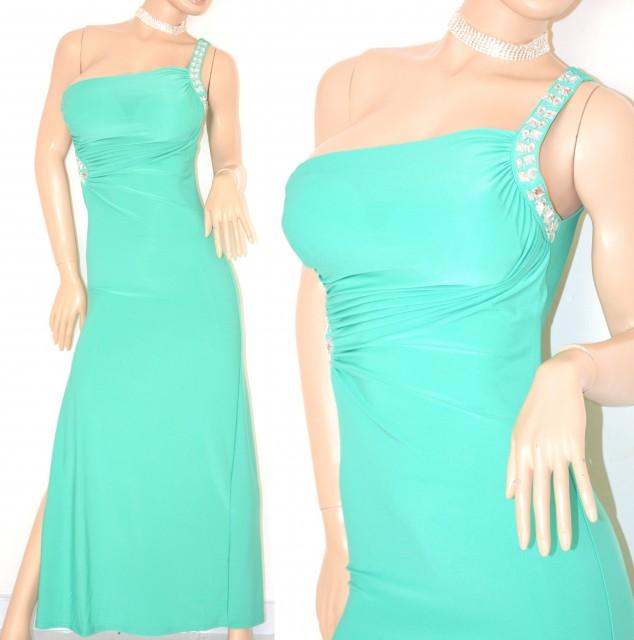 Favoloso ABITO LUNGO donna VERDE acquamarina elegante vestito da sera  JM22