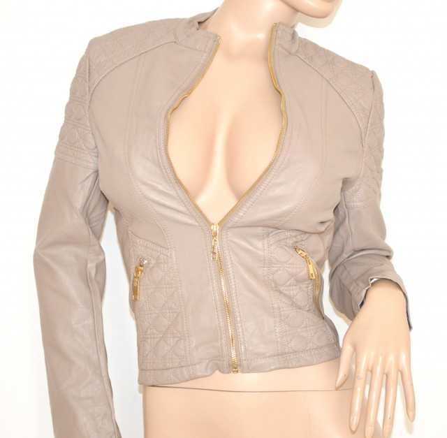 free shipping 93ce2 6d9ad GIUBBINO BEIGE FANGO giacca donna eco pelle sexy giacchino zip oro black  jacket N20