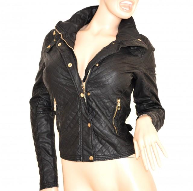 sale retailer 2601b b3369 GIUBBINO NERO giacca donna PELLE giacchino sexy giubbotto ecopelle jacket  jacke 100