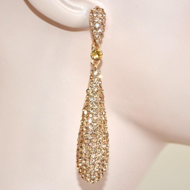 100% autentico nuovo stile di vita a piedi scatti di Orecchini strass cristalli oro donna da cerimonia pendenti ...