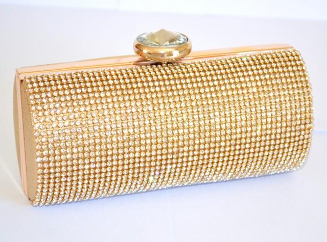 Borse da cerimonia oro : Pochette donna oro cristalli stile swarovski borsello