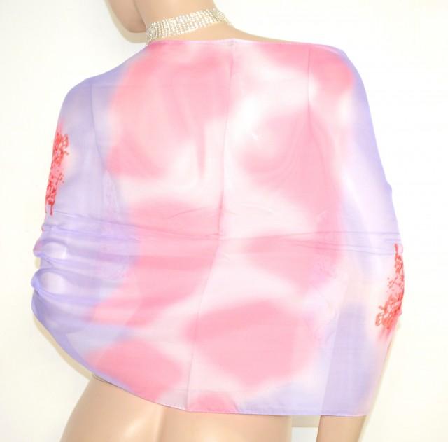 huge selection of b7115 062a7 STOLA donna foulard LILLA GLICINE ROSA ROSSO CORALLO coprispalle seta  velata H25