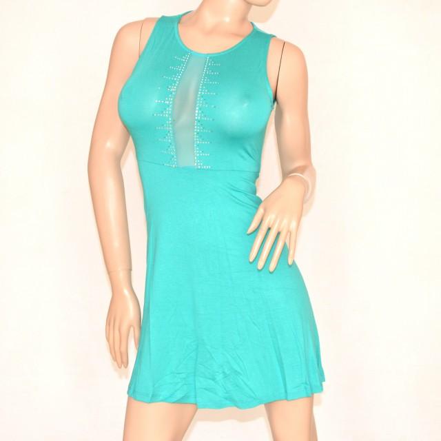 Top Abito donna verde acquamarina cerimonia ELEGANTE strass  WP82