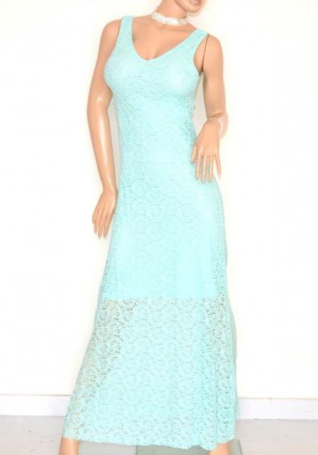 54cae667babe ABITO LUNGO donna VERDE acquamarina vestito elegante PIZZO da sera damigella  cerimonia party E120