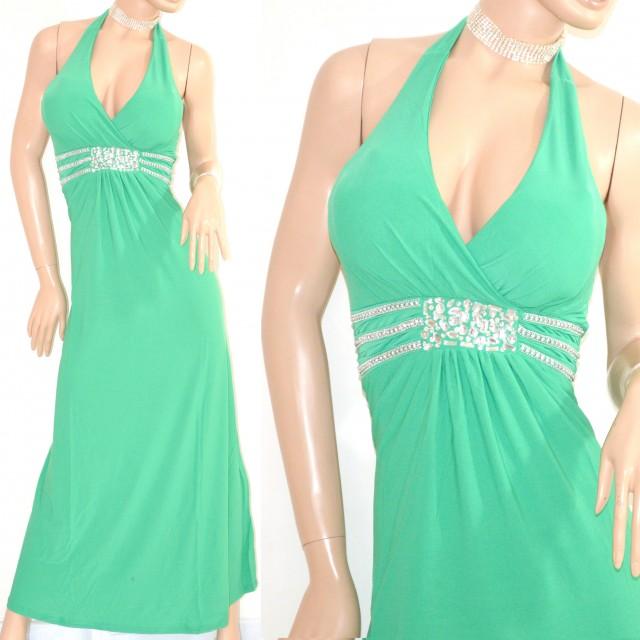 new arrival 14c49 91fbc ABITO LUNGO elegante VERDE vestito donna cerimonia da sera strass party  festa E10