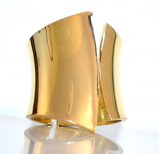 Popolare BRACCIALE donna rigido oro dorato lucido metallo sexy a schiava DN49
