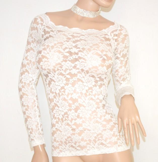 Elegante Manica Pizzo Lunga Sottogiacca Donna Bianca Maglietta Sexy OPikZXu