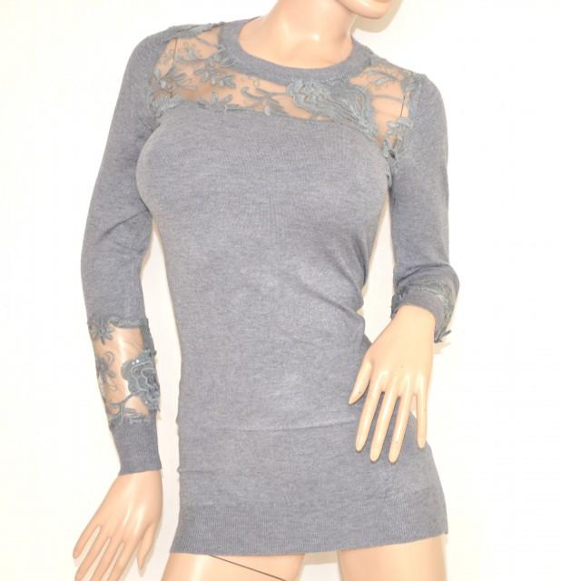 Estremamente MAGLIETTA donna GRIGIO manica lunga maglione maglia girocollo maxi  IK29