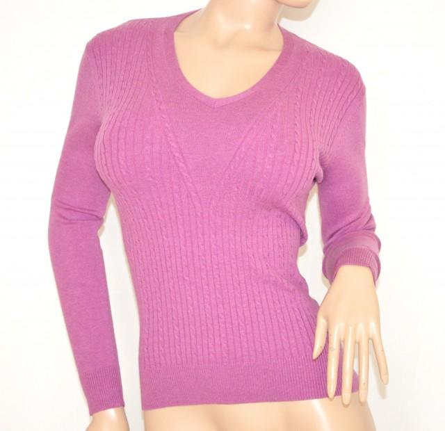 nuovo stile 11386 80dc6 MAGLIETTA ROSA FUCSIA maglia sottogiacca donna lana manica ...
