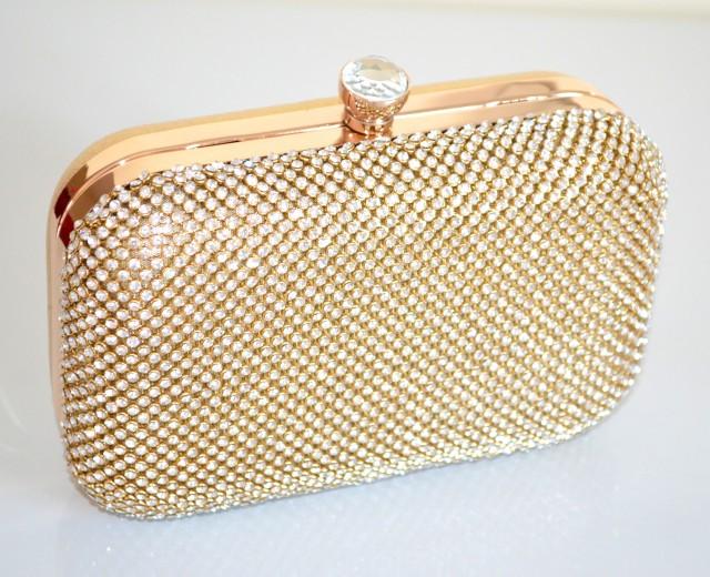 Borse Da Sera Con Strass : Pochette borsello oro donna cristalli strass borsa da