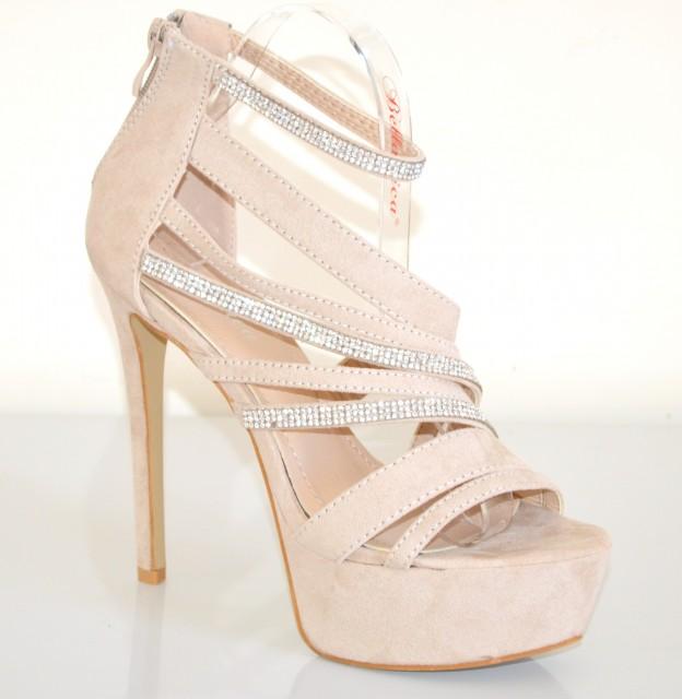 innovative design 15be8 8c07b SANDALI donna BEIGE eleganti DECOLTE' brillantini STRASS scarpe pelle da  sera da cerimonia tacco alto plateau XA1