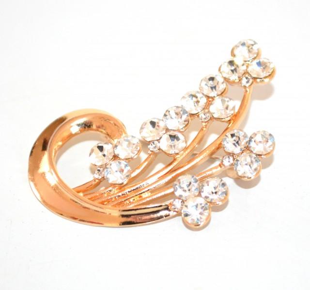 SPILLA donna oro dorata strass cristalli trasparenti per stola cardigan F10