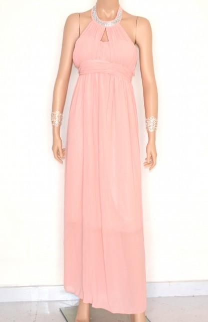 Vestiti Eleganti Rosa Antico.Vestito Rosa Cipria Donna Elegante Abito Lungo Strass Seta Da