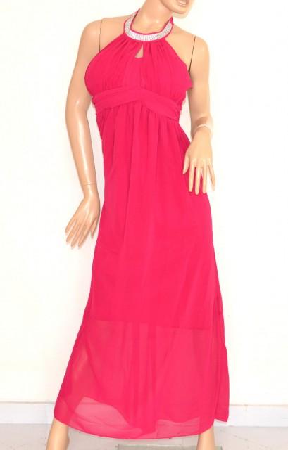 best service d3a24 fc11d VESTITO ROSA FUCSIA donna elegante ABITO LUNGO strass seta da cerimonia  party dress E130