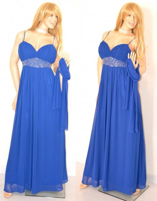 check out 1ba50 afb9c ABITO LUNGO BLU vestito donna CERIMONIA Elegante seta chiffon CRISTALLI  dress 1A