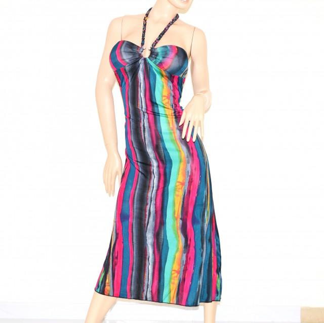 best service 857bc 1ba62 Abito lungo vestito donna multicolore da sera copricostume colorato 76