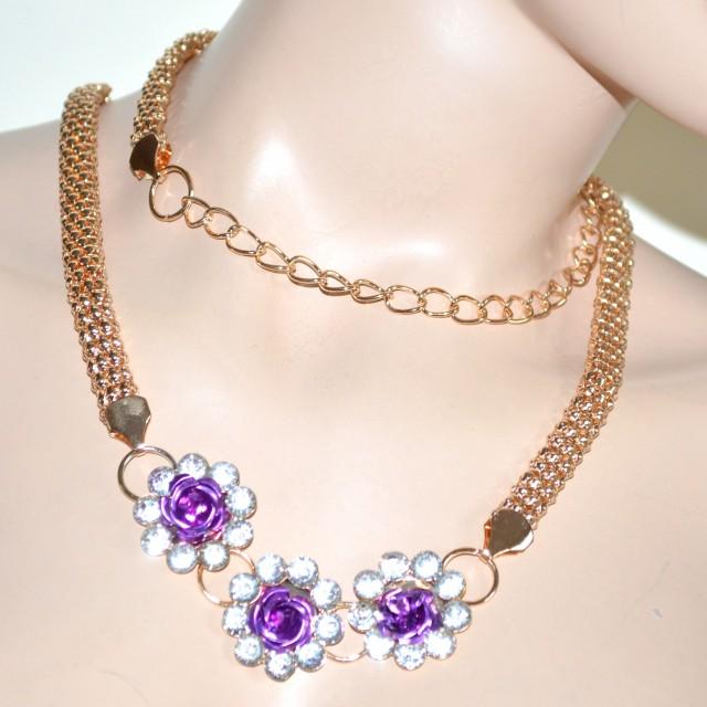 comprare on line 301f4 2e24d Cintura gioiello donna oro metallo dorata fiori strass cristalli ...