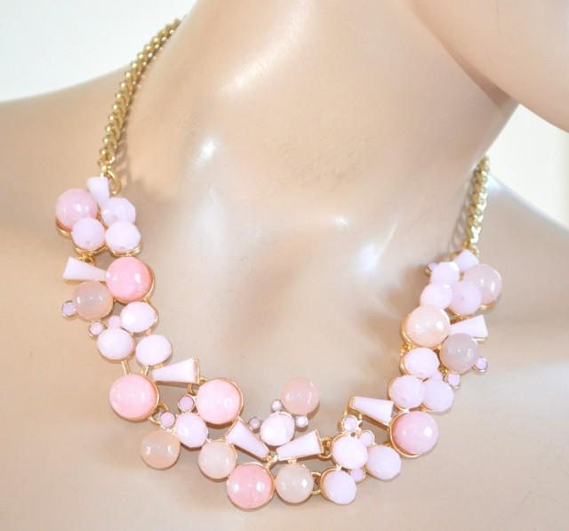 Popolare COLLANA donna PIETRE DURE girocollo oro cristalli rosa cipria F60 QN54