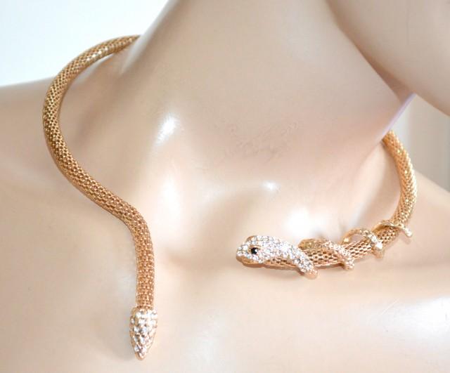 nuovo stile b2e38 1643f COLLANA SERPENTE donna ORO dorata collarino girocollo rigido collier strass  elegante E12