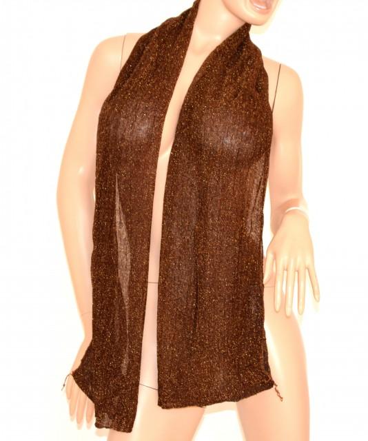 ... Coprispalle stola foulard MARRONE BRONZO donna scialle tinta unita  lurex elegante 150 images fb4f60174f19